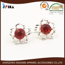 flower shape metal shank button red rhinestone decorating