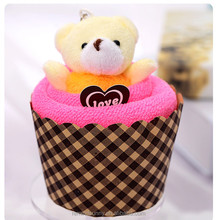 Promotion Cute Bear Cake Towel as wedding gifts .