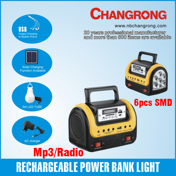 portable rechargeable mobile charger home solar system with led MP3 USB radio