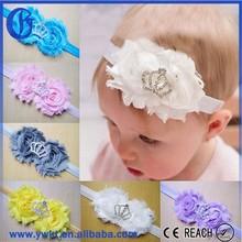 fashion beads elastic hair bands top baby headband wholesale chiffon flower headband