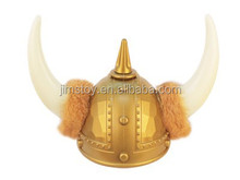 A Great plastic viking woman costume hat/helmet with Horns trimmed with fur