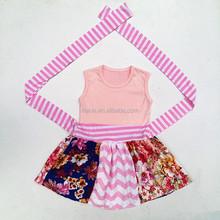 Wholesale children's boutique clothing two kinds of Floral Cotton dress girls cotton plain dress