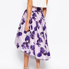 Printed purple beautiful flowers front short back long young girls midi skirt