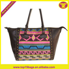 2013 New ladies studded colorful satchel bag