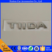Car ABS Chrome Silver Rear Emblem For Tiida 3D Letter Sticker Tail Badge Auto Logo