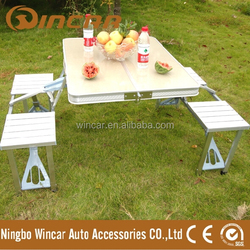 Portable camping folding table and chair set, folding picnic table and chairs