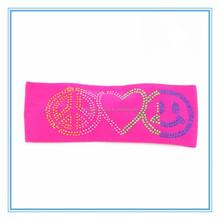 wholesale custom sequin smile face nylon spandex girls yoga headbands