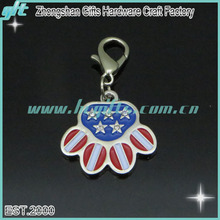America style custom keychain/factory price custom metal keychain/pet footprints innovative keychain
