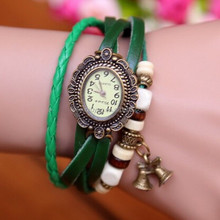 In Stock Promotional Most Popular European Pendant Hand-Woven Steel woven band watch WomenStyle Retro Christmas Bells
