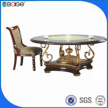 industrial metal dining table legs round solid wood dining table with chairs D-1130