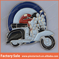 Lambretta Scooter with Lights and Mod Target Enamel Metal Lapel Pin Badge