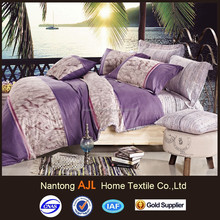 Reversible printed purple european bed linen with 4 pcs