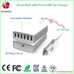 electric DC 12v 24v custom usb car charger, 6 usb 50w car charger station for tablet phones