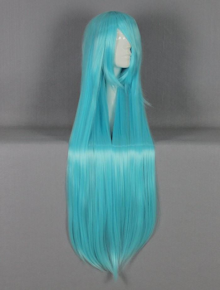 высокое качество 100 см длиной синим прямо косплей парик