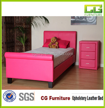 2015 the latest design high quality bedroom furniture pink princess bed double leather bed
