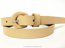 PU leather for women belts 2015 new design good quality with PU covered buckle customize fashion lady belts factory