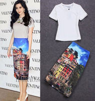 2015 Summer Fashion Runway Women's Brand Short Sleeve White T-shirt + Buildling Printed Blue Knee-length Waffle Skirt Casual Set