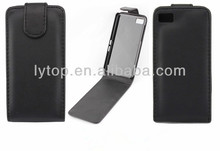 Classical Black Genuine Leather Flip Case for Blackberry Z10 case, for Blackberry Z10 case flip