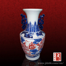 Special design blue and white relief ceramic vase with red dragon play fireball