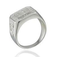 Honorable Pave Micro CZ 925 Sterling Silver Wedding Men's Ring