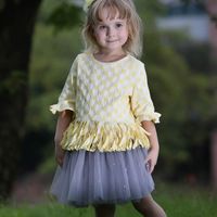 Cute Girls Party Dress 2pcs Textured Ivory Top With Gray Ruffle Skirt Fashion Children Casual Clothes CS80813-79F