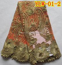 3 different color Orange embroidered French lace fabric 5yards YLW-01-2
