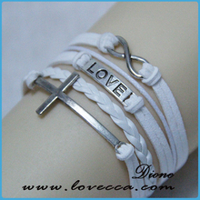 Christmas Gifts Fashion Weave Wrap Around Leather Love Bracelet Cross Style