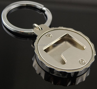 Wholesale and OEM stock zinc alloy beer bottle cap opener key chain for promotional