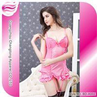 Sexy hot babydoll sleepwear lingerie white silk(BD-A002)