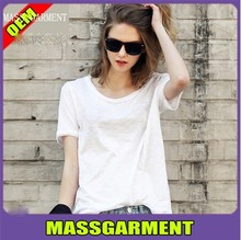 2015 OEM women O-Neck cotton breathable t-shirt casual basic t-shirt loose blank t-shirt