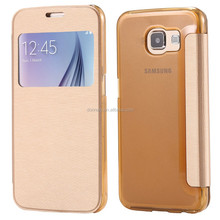 For S6 Luxury Window View Flip Slim Leather Case for Samsung Galaxy S6 G920 Smart Answer Cloth + Transparent Back Phone Covers
