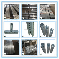 Hot rolled Galvanized Perforated Square Sign Posts with punched holes