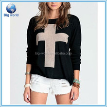Big World new women fashion Cross Pattern Knit Sweater Outerwear lady casual winter thick long sleeve sweater Crew Pullover Tops