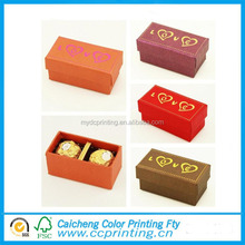 Colourful small rectangle 2 slot chocolate gift box with foil logo