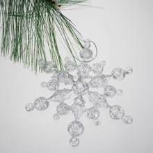 2015 new glittered plastic snowflake Christmas ornament