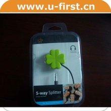 flower type,3.5 stereo plug to 4*3.5 stereo jacks,earphone splitter for iphone/ipad/ipod