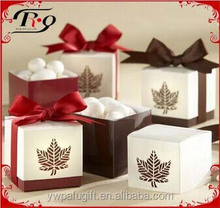 creative multicolored maple leaf shaped wedding candy box