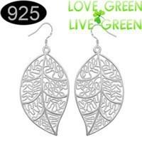 Kerajinan daun semanggi grosir 925 stering Silver anting liontin, Klip telinga perhiasan untuk pesta wanita musim panas 2 years