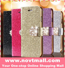 New glitter cell phone cover for iphone 6, stylish bling crystal pu leather wallet cell phone case