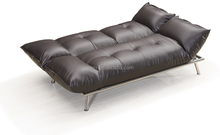 Black PU Leather Mini Sofa Bed with Stainless Steel Legs