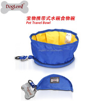 free shipping Oxford fabric Pet Dog Food Bowl Portable Travel water folding Bowl with 4color design Dog Pet Supply