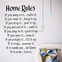 ZOOYOO Home Rules wallpapers children room decorative stickers wall wood stickers home decor (8442)
