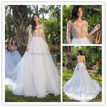 (MY1109) Sexy Long Sleeves Keyhole Back See Through Lace Bodice Princess Ball Gown Wedding Dress