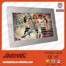 digital photo frame support photo/music/video (calendar+clock+timing on/off) high Resolution touch screen digital photo frame