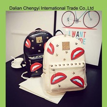 Wholesale leisure pu leather day backpack with lips decoration