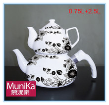 Flower Market Enamal Tea Kettle , Stainless Steel Turkish Tea Pot