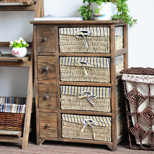 Rustic home furniture wood storage cabinet with woven baskets