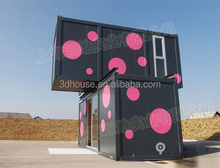 Pink appearance luxury prefabricated mobile 2 storey container house plan