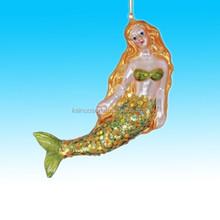 Pretty mermaid dreams blown glass Ceramic christmas holiday ornament