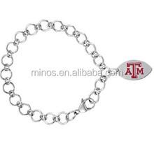 Stainless Steel Texas A&M Aggies Charm Bracelet
